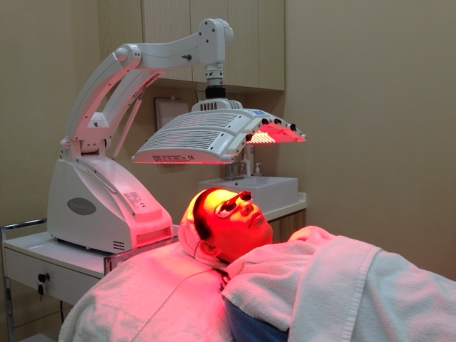 Soothing my sensitive skin with LED Red light treatment.